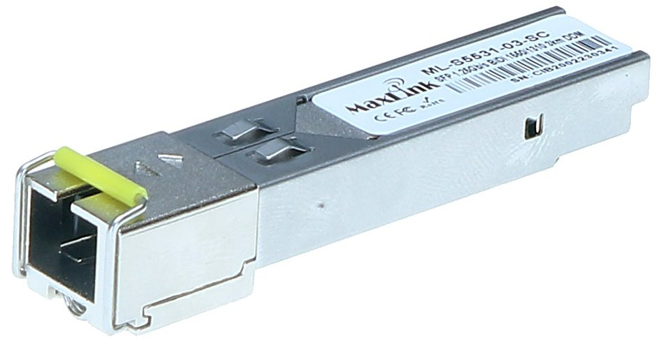 MaxLink 1.25G SFP optical module, WDM(BiDi), SM, Tx 1550/Rx1310nm, 3km, 1x SC connector, DDM, Cisco compatible
