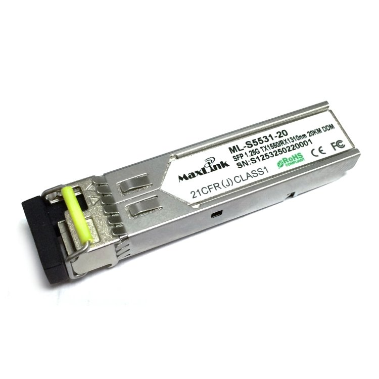 MaxLink 1.25G SFP optical module, WDM(BiDi), SM, Tx 1550/Rx1310nm, 20km, 1x LC connector, DDM, Cisco compatible