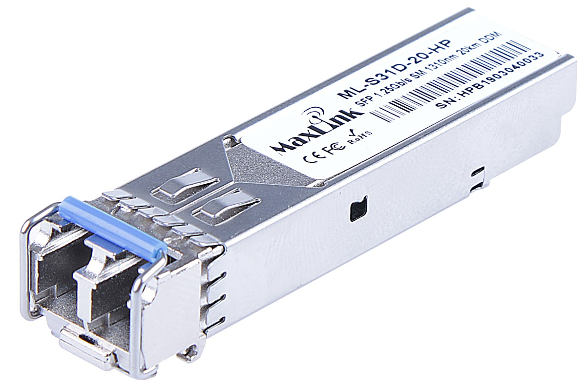MaxLink 1.25G SFP optical HP module, SM, 1310nm, 20km, 2x LC connector, DDM, HP comp.