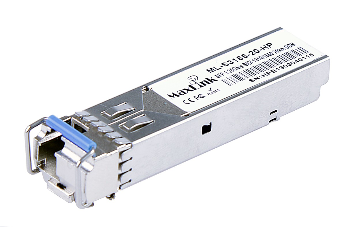 MaxLink 1.25G SFP optical HP module, WDM(BiDi), SM, Tx 1310/Rx1550nm, 20KM, 1x LC connector, DDM, HP comp.